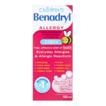 Benadryl Children's Allergy Liquid under 12 Diphenhydramine Hydrochloride 6.25 Mg/ 5mL Bubble Gum 100mL