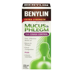Benylin Extra Strength Mucus and Phlegm Relief Syrup + Cough Control 250mL