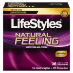 LifeStyles Natural Feeling Premium Lubricated Latex Condoms 36 Condoms