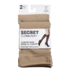 Secret Collection Comfort Band Knee Length one Size Nude 2 Pairs