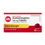 Life Brand Extra Strength Acetaminophen Usp 500mg x 50 Tablets