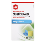 Life Brand Anti-Smoking Aid Nicotine Gum 4 mg Ice Mint 30 Chewing Gums