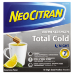 Neocitran Extra Strength Total Cold Night Honey Lemon Flavour 10 Single Dose Pouches