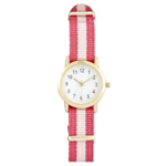 Joe Fresh Youth Gold Rounded CS with Pink Stripe Nylon Strap
