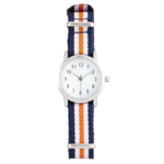 Joe Fresh Youth Silver Rounded CS with Orange Stripe Nylon Strap