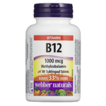 Webber Naturals Vitamin B12 1000 mcg Methycobalamin 80 Sublingual Tablets
