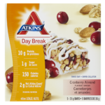 Atkins Day Break Barre-Collation Canneberges et Amandes 5 Barres x 35 g