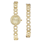 Precision Ladies Gold Tone Watch And Braclet Set
