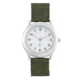 Precision Mens Silver Watch With Green Army Nylon Strap